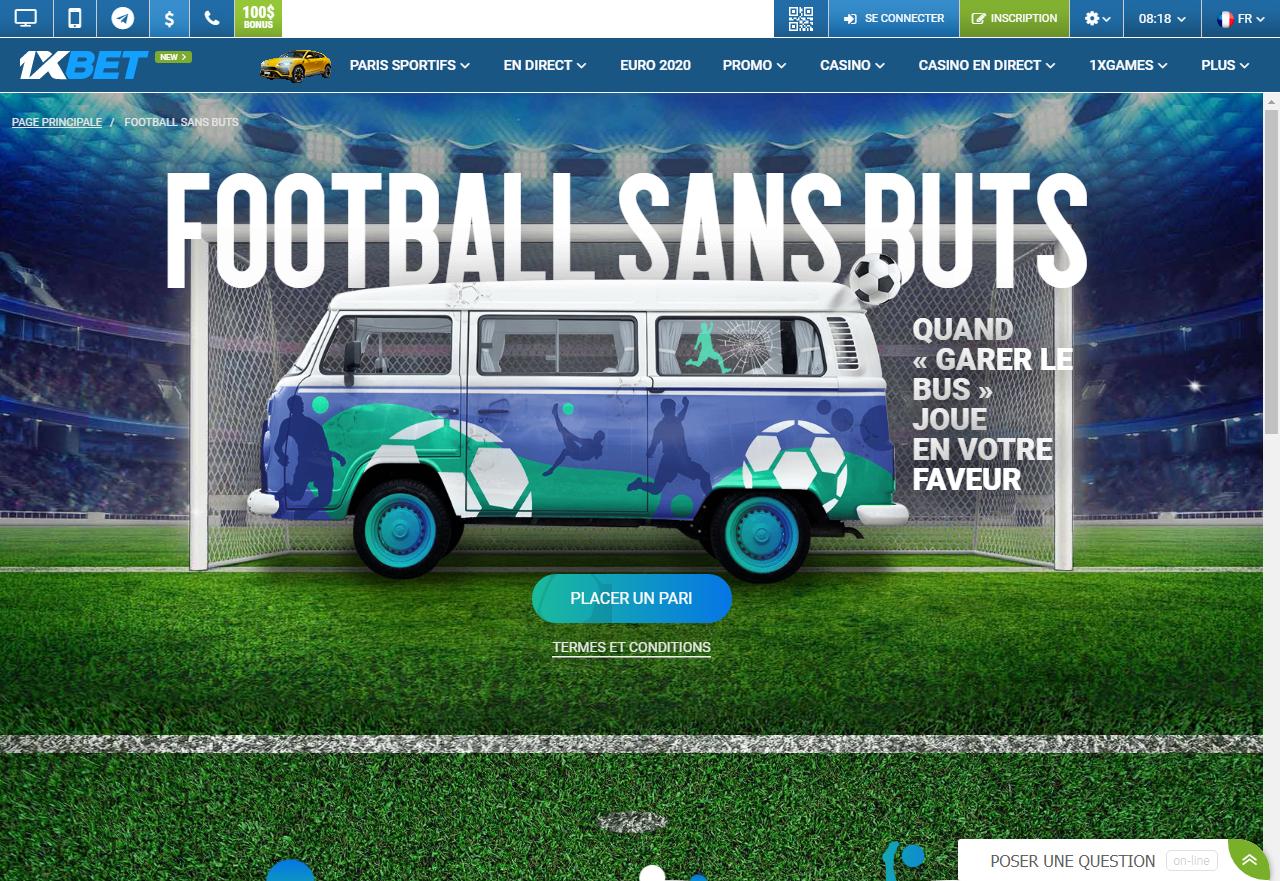 1xBet - Football sans buts