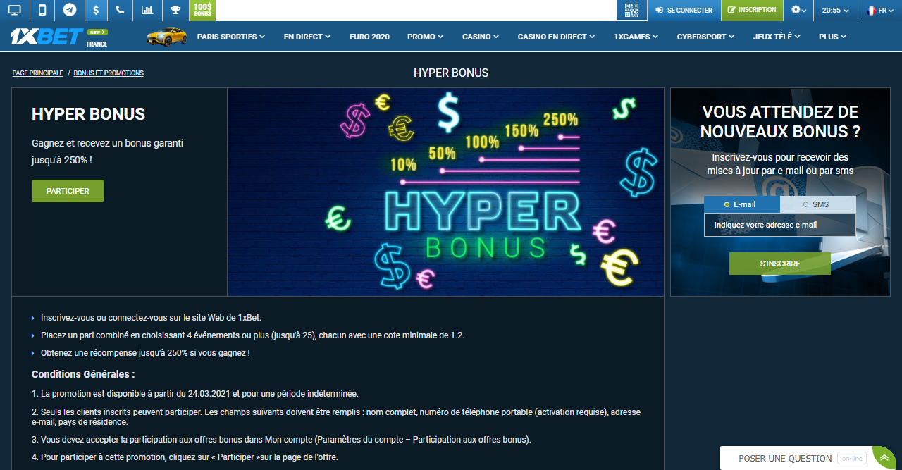 1xBet Hyper Bonus