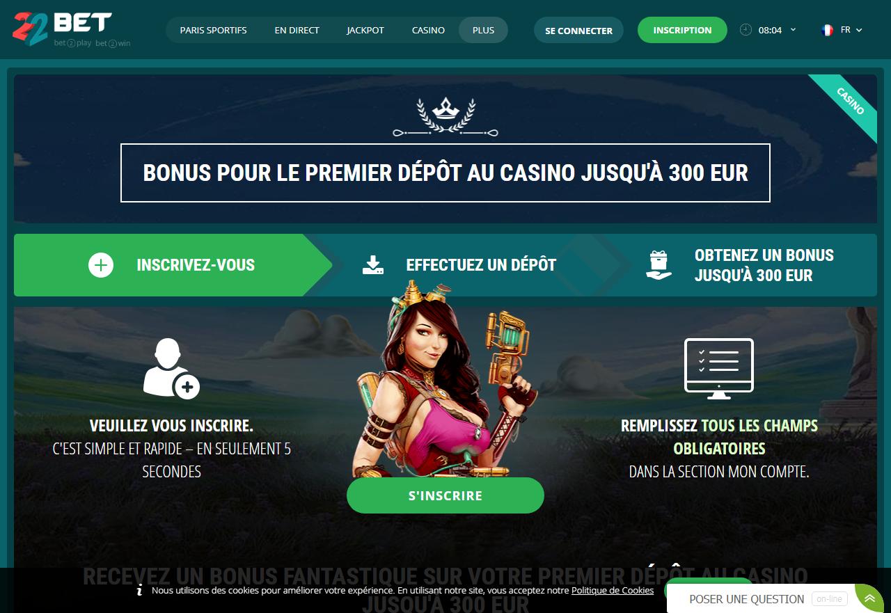 22Bet Bonus sur le premier dépôt au casino