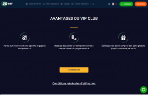 20Bet Programme VIP pour les paris sportifs 1