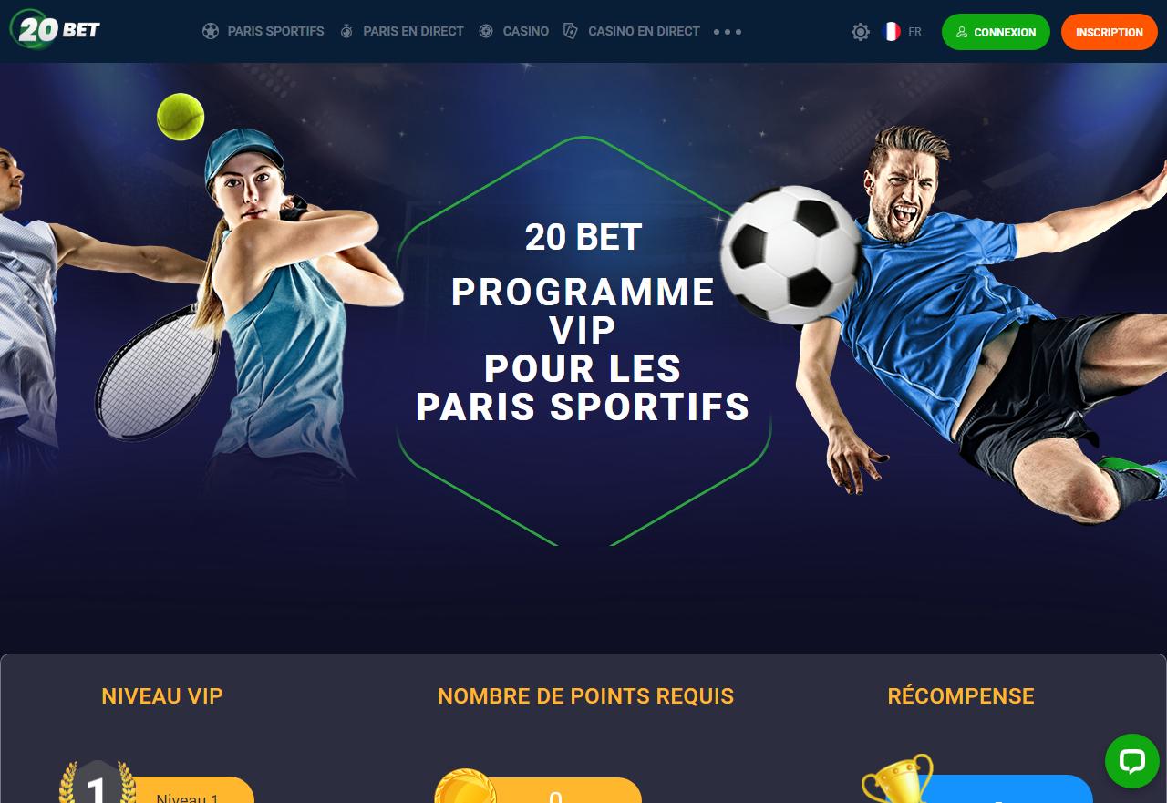 20Bet Programme VIP pour les paris sportifs
