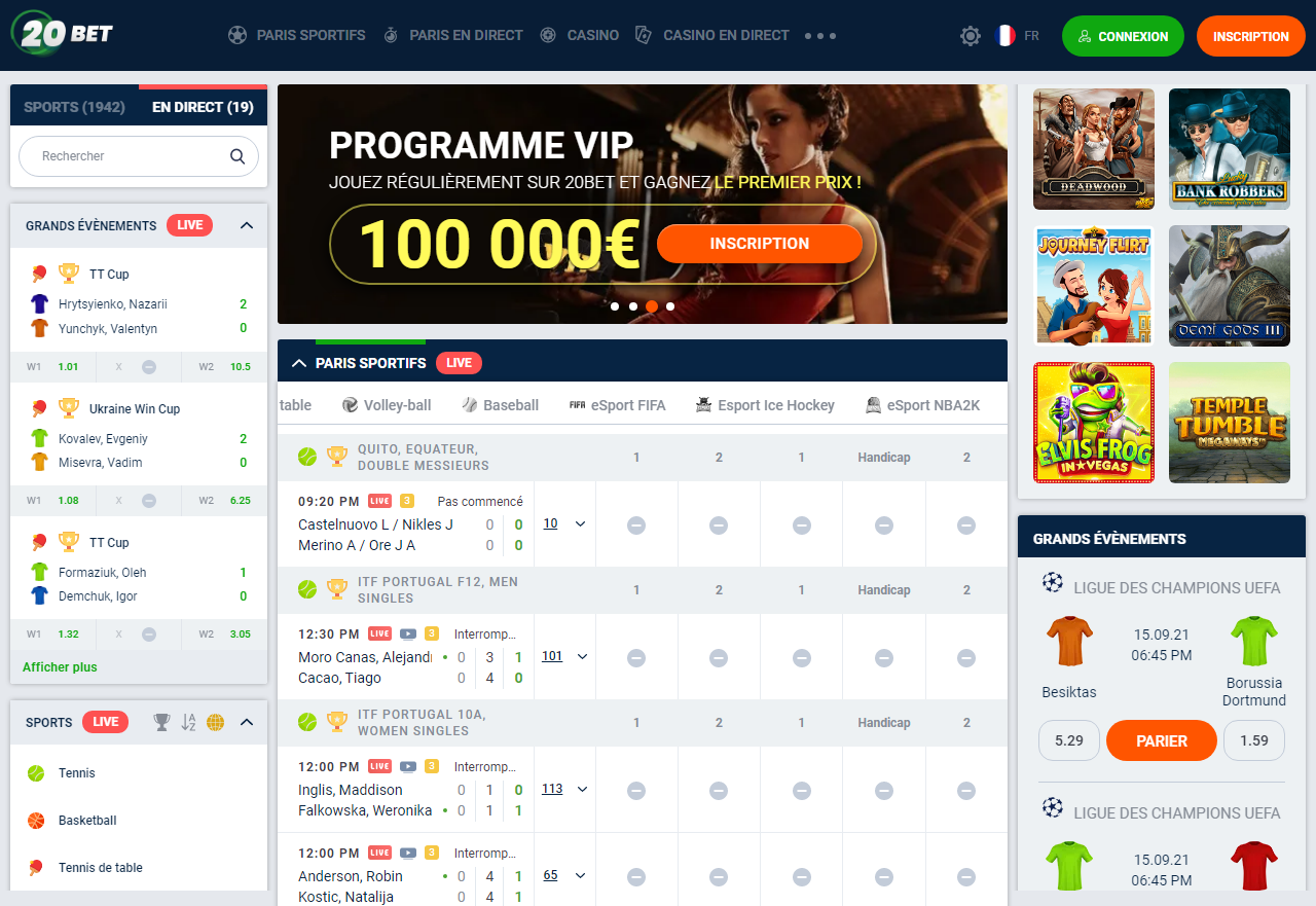 20Bet pour Android